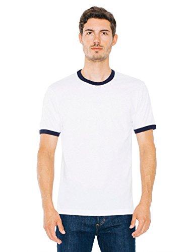 American Apparel Men Fine Jersey Short Sleeve Ringer T-Shirt Size XL White /