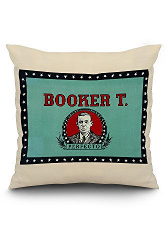 Booker T. Perfecto Brand Cigar Box Label - Booker T. Washington (20x20 Spun Polyester Pillow, White Border)