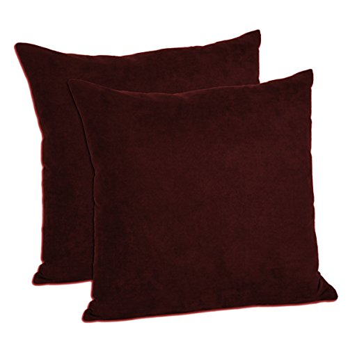 MoonRest - Pack of 2- Micro-Suede Decorative Throw Pillow Case - Faux Suede Cushion Cover (18''x18'', Wine) by MoonRest