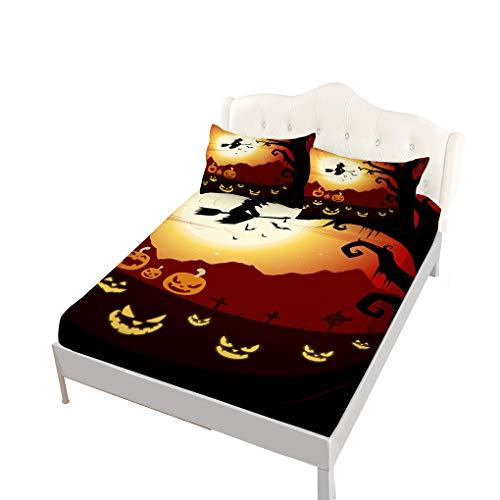 (VITALE Bed Sheets Set, Halloween Printed Fitted Sheet Twin Size Set, Cartoon Horrible Pumpkin Witch Printed Set of 3 Pieces Twin Size Sheets Set Kids Bedding Decor )