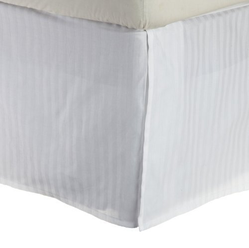 300 Thread Count Egyptian Cotton Stripe Bed Skirt Size: Twin, Color: White by Simple Luxury