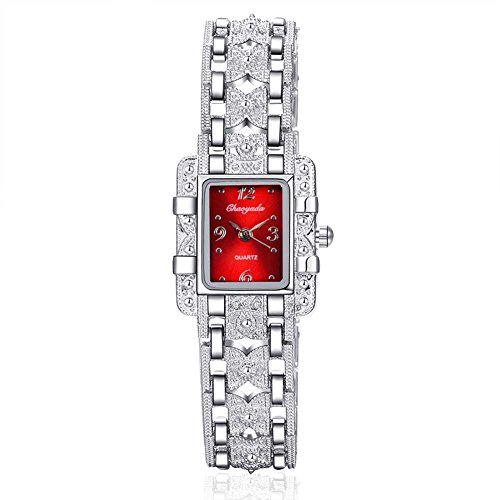 Red Stainless Dial (ChezAbbey Women's Royal Roman Style Square Crystal Studded Dial Quartz Wrist Watch With Stainless Steel Bracelet, Red Dial)
