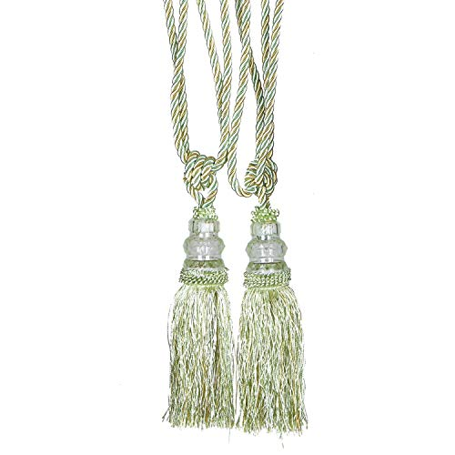 JETEHO 2Pcs Curtain Tassel Tiebacks Crystal Beaded Fringe Ropes for Drapery Window Door Decorations Supplies -