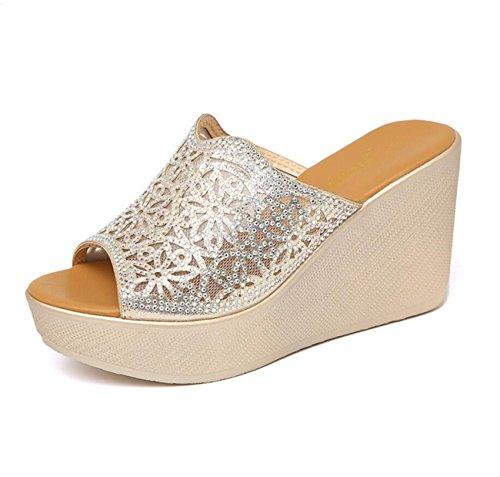 DANDANJIE Sandalias para Mujer Verano de Alta Temperatura taladros Calientes Flip-Flops Sandalias de cuña talón de Moda Casual tamaño 32-43 Zapatos caseros ONE COLOR