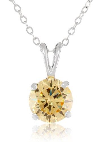 "Diamond Veneer Cushion Square Cubic-Zirconia Solitaire Canary Pendant Necklace, 16""+2"""