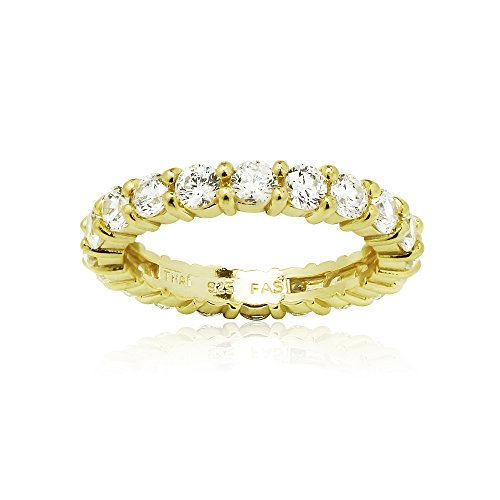 Sterling Silver Eternity Band Bridal Ring created with Swarovski Zirconia , Size 8 (Yellow Gold Eternity Wedding Ring)