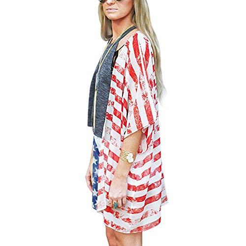 da288b9145 Women Swimsuit Cover Up American Flag Print Kimono Chiffon Shawl Loose  Blouse Top