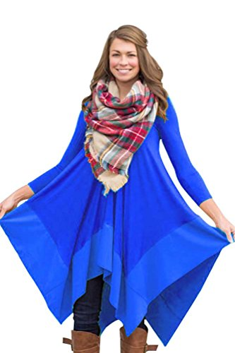 Daysoft Women Floral Print Casual Long sleeve V-neck Irregular Hem Tunic /Tunic Dress (L, blue)