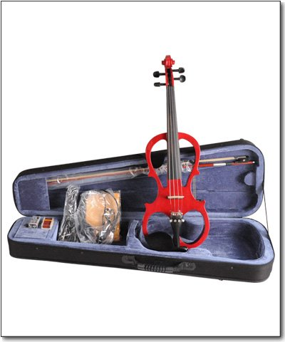 Aileen 4/4 RED Electric Violin VE008B + FOAMED CASE + BOW + HEADPHONE + ROSIN by Aileen