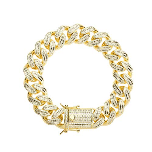 TRIPOD JEWELRY Hip Hop Mens Iced Out Baguette Cuban Link Chain Bracelet -18mm 18K Gold Plated Miami Cuban Link Chain Baguette Diamond CZ Cuban Chain Choker (18mm 18K Gold, 8.5) ()