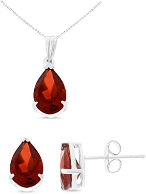 Oval Genuine Natural Garnet Earrings 14K Rose Gold 6 x 8 mm Pendant Set With Square Rolo Chain