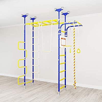 Pegas: Children's Indoor Home Gym Swedish Wall Playground Set Gymnastic Ladder Horizontal bar Moving Gymnastic Rings Trapeze Climbing Rope Hole Snake Basketball Swing Gyms Climber: Toys & Games
