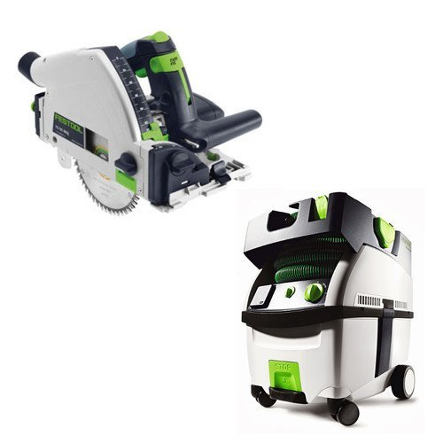 Festool PI561556 Plunge Cut Circular Saw with CT MIDI HEPA 3.3 Gallon Mobile Dust Extractor