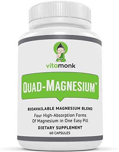 Quad Magnesium™ Supplement Blend by VitaMonk - High Absorption Magnesium Complex for Sleep, Stress Relief, Heart, Anxiety and Mood with Glycinate Chelate, Orotate, Taurate and Di-Magnesium Malate