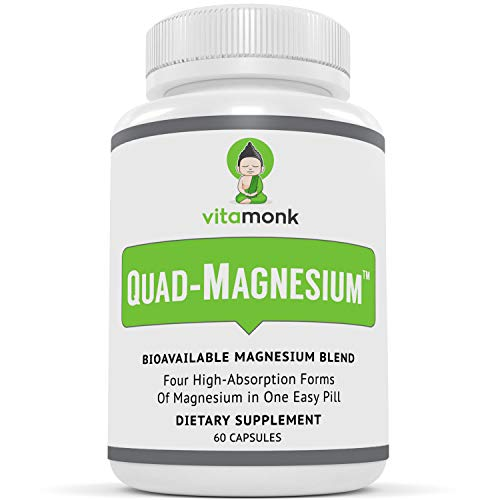 Quad MagnesiumTM Supplement Blend by VitaMonk - High Absorption Magnesium Complex for Sleep, Stress Relief, Heart, Anxiety and Mood with Glycinate Chelate, Orotate, Taurate and Di-Magnesium Malate (Best Magnesium For Depression)