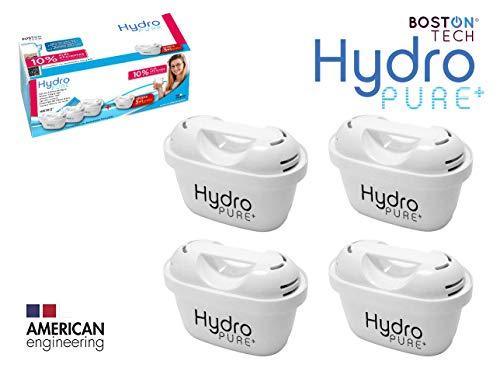 Boston Tech 4 Cartuchos Hydro Pure+, filtros de Agua compatibles con Jarras Brita Maxtra y Maxtra+, Efecto Prolongado (8 Meses, 4 x 60 dias Cada Filtro) reducen la Cal y el Cloro. Gran Sabor
