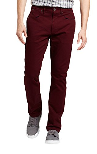 Dolcevida Men's Casual Color Relaxed Regular Fit Straight Leg Jeans (Red, 40W-33L)