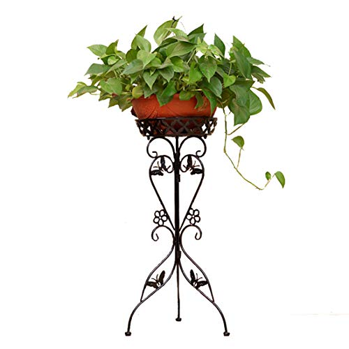 WOLFBUSH 30'' Tall Plant Stand Demountable Art Flower Pot Holder Rack Metal Potted Plant Stand for Garden Home Office, 2 Tiers (Black) (Floor Stand 30')