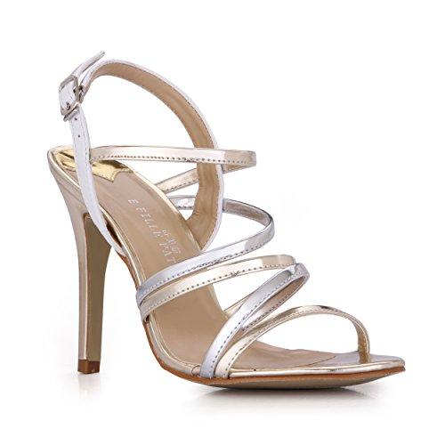 Banquete Sandalias Productos Verano Zapatos High Shoes heel Mujer Cena De Femenino Checker Oro Banda Plata The Spell Color Nuevos Grande qtYnBSt