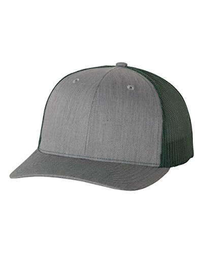 richardson 112 Heather Grey/Dark Green mesh back trucker cap snapback structured hat