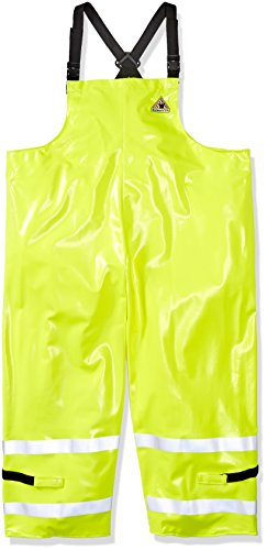 Bulwark Men's Hi-Visibility Flame-Resistant Rain Bib Overall-Big/Tall, Yellow/Green 3X-Large