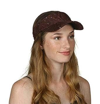 TopHeadwear Glitter Sequin Visor Hat - Brown