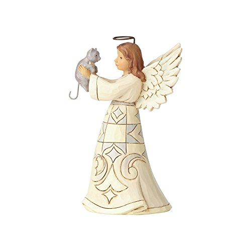 Enesco Jim Shore Heartwood Creek Collection Farmhouse Angel with Cat Failthful Friend Figurine 5.2