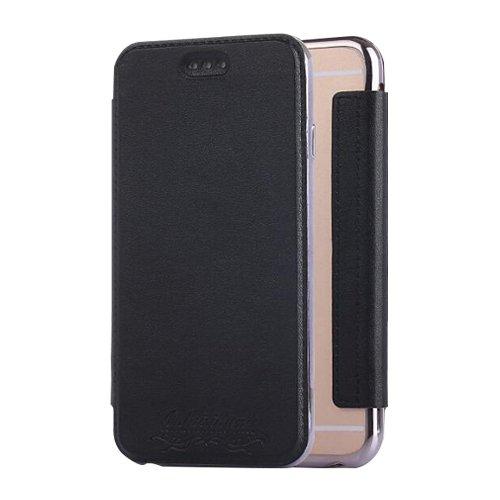 E8Q lujo ultra-delgada transparente tarjeta de bolsillo Cubierta de la caja para iPhone 7 Plus negro