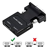 avedio links HDMI to VGA, Active HDMI to VGA Adapter with Audio, HDMI Female to VGA Male Converter for Laptop, PC, Monitor, Projector, HDTV, Chromebook, Roku, Xbox(3.5mm Stereo Cable Included) (Black)