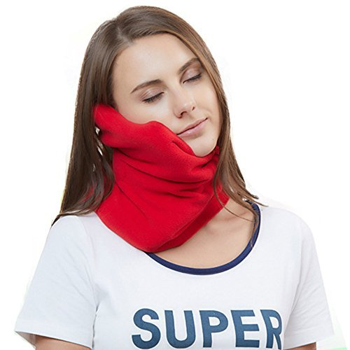 Travel Pillow Scientifically Proven Super Soft Neck Support Machine Washable Very Easy Attachable to Luggage Comfortable Compact Lightweight Neck Pillow Scarf Red Color Best for Plane Bus Car Voyage U-shaped Purse Handle