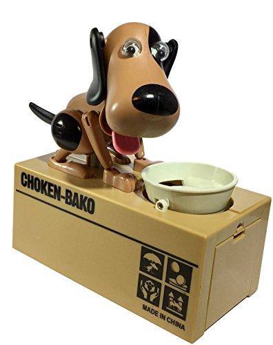Happy Puppin Choken Bako Robotic Dog Bank Doggy Coin Bank & Money Box (Black & Brown)