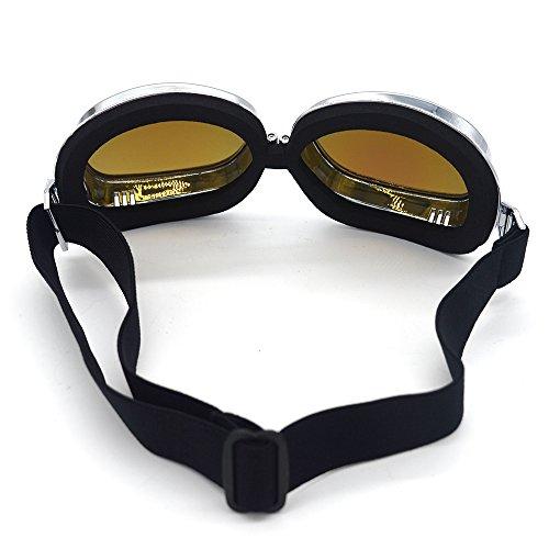 Evomosa Motorcycle Goggles Retro Vintage Motocross Off-Road ATV Pilot Goggle Eyewear Sports Glasses Snowboard Ski Bikes Helmet Goggles (Silver, Blue) by Evomosa (Image #7)