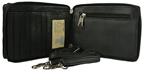 Texcyngoods Unisex Leather Organizer Wallet with Cell Phone Pocket Cross Body Bag - Unisex Black Leather