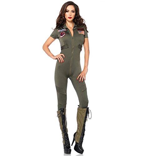 Top Gun Flight Suit Costume Women (HUANGYUAN Women's Top Gun Flight Suit-Air Force-Freesize)
