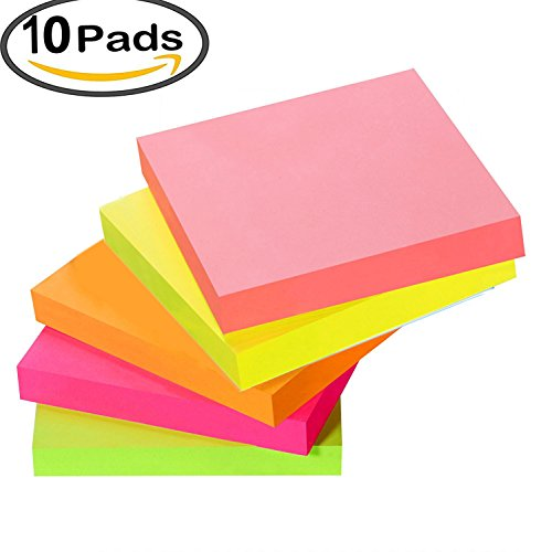 Sticky Notes Pads, 5 Bright Colors Easy Post Self-Stick Notes, 3 inch X 3 inch, 10 Pads / Pack, 100 Sheets/Pad Individual Package (10 pad- flat) - Medium Sticky Notes