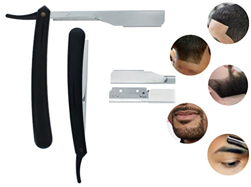 Professional Folding Straight Edge Razor Shaving Barber Salon (Black)