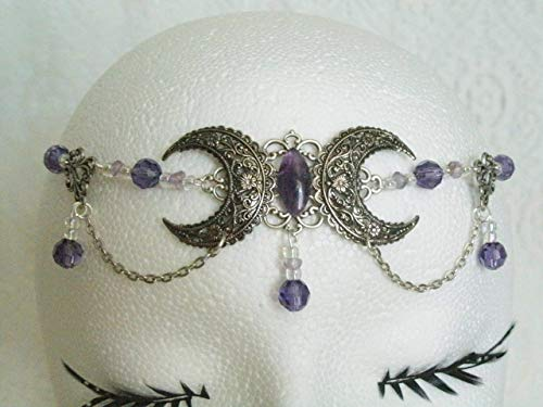 (Amethyst Triple Moon Circlet handmade jewelry wiccan pagan wicca witch witchcraft goddess metaphysical headpiece)