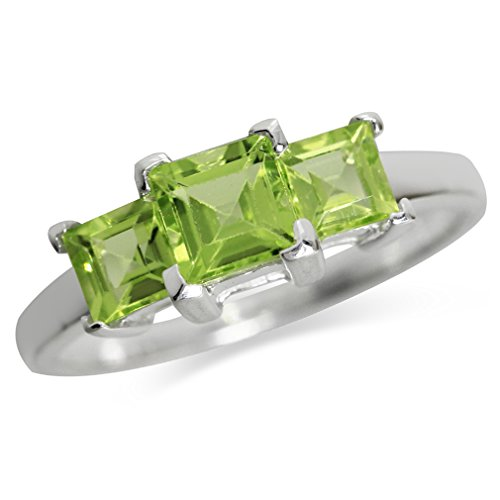 1.48ct. 3-Stone Natural Peridot 925 Sterling Silver Ring Size 7.5