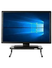 Allsop 30336 soporte de metal grande para monitor, sostiene 50 libras con espacio para teclado, color negro., Negro