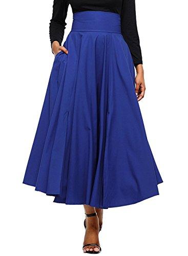 avec Fashion Jupe Haute Soire Jupe de JackenLOVE Couleur Plisse Taille Rtro Unie Jupes Bandage Fte Femme t Bleu Casual de Plage Cocktail Maxi Aqw4tHx4Y