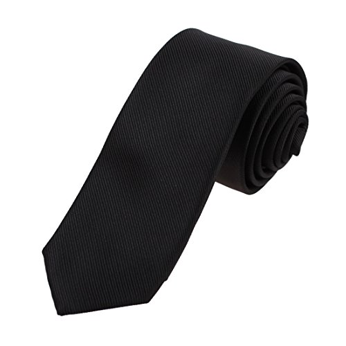 EAEE0031 Black Solid Microfiber Thin Neck Ties Italian Formal Wear Skinny Tie By (Italian Neckwear)