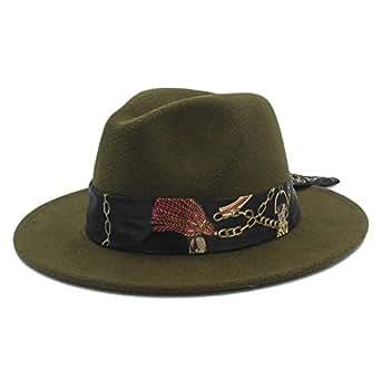 SHENTIANWEI Winter Wool Fedora Hat for Men Women Church Jazz Hat Wide Brim Cloche Hat Fascinator Size 56-58CM (Color : Army Green, Size : 56-58)