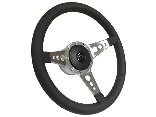 Momo Air Leather - 1957 - 1968 Chevy Red Bow Tie Sport 9 Bolt Tri Spoke Leather Steering Wheel, Hub, Button & Emblem / Fits Bel Air Camaro Chevelle Impala El Camino