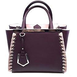 Fendi Shopping Bag 2 Jours Calf Leather Dark Red Doll Pink Trim 8BH253