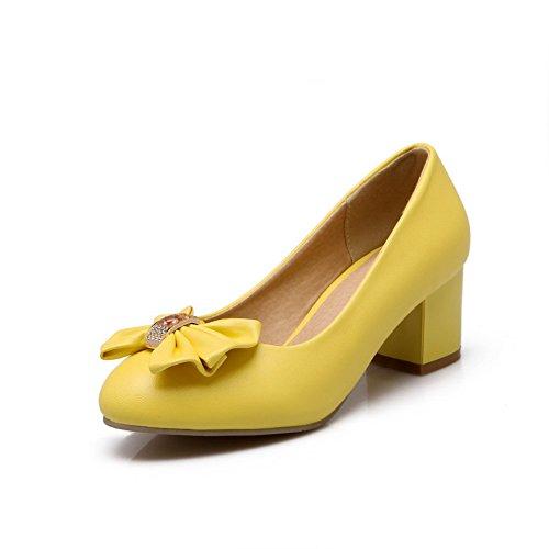 Balamasa Ladies Si Inchina Con Tacchi Pesanti Pull-on Uretano Pumps-shoes Giallo