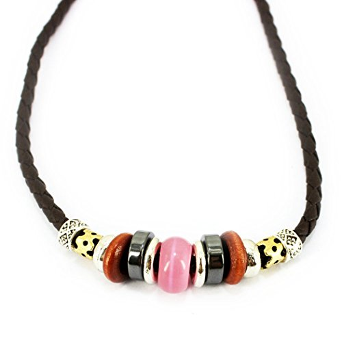 50's Style Costumes Australia (MORE FUN Charm Opal Brown Wood Beads Leather Adjustable Woven Braided Rope Necklace (Pink))