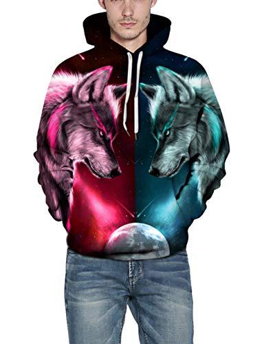 Grafica Pullover Stampata Divertente 3d Del Unisex Lupo Con Hoodie Due Colori Cappuccio Felpa Colorata Tasche sBrChxtQd