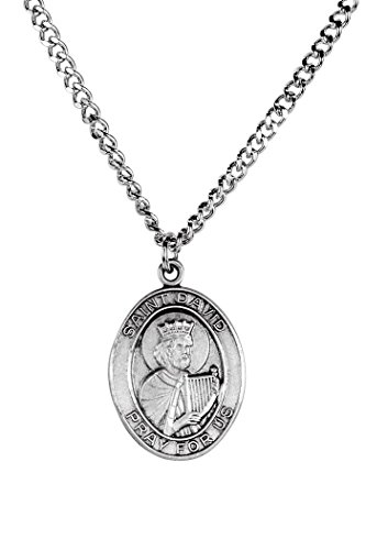 Sterling Silver Catholic Patron Saint David Medal Pendant, 1 Inch