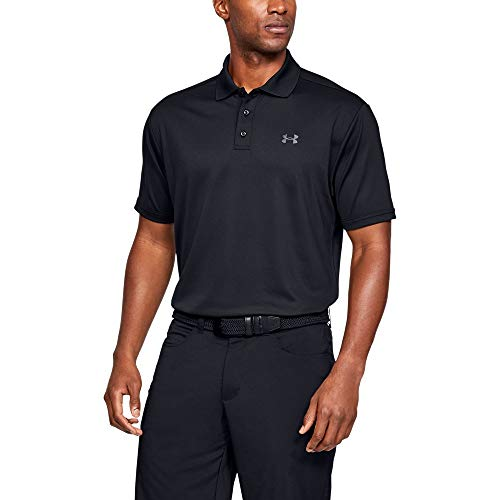 Under Armour Men's Performance Polo, Black (001)/Steel, Large (Charming Stripe Collar)