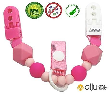 Tetero chupetero Palette rosa/Silicona antibacteriana. Libre de toxícos. Innovación para mantener la chupeta limpia, doble anclaje. Testado en ...